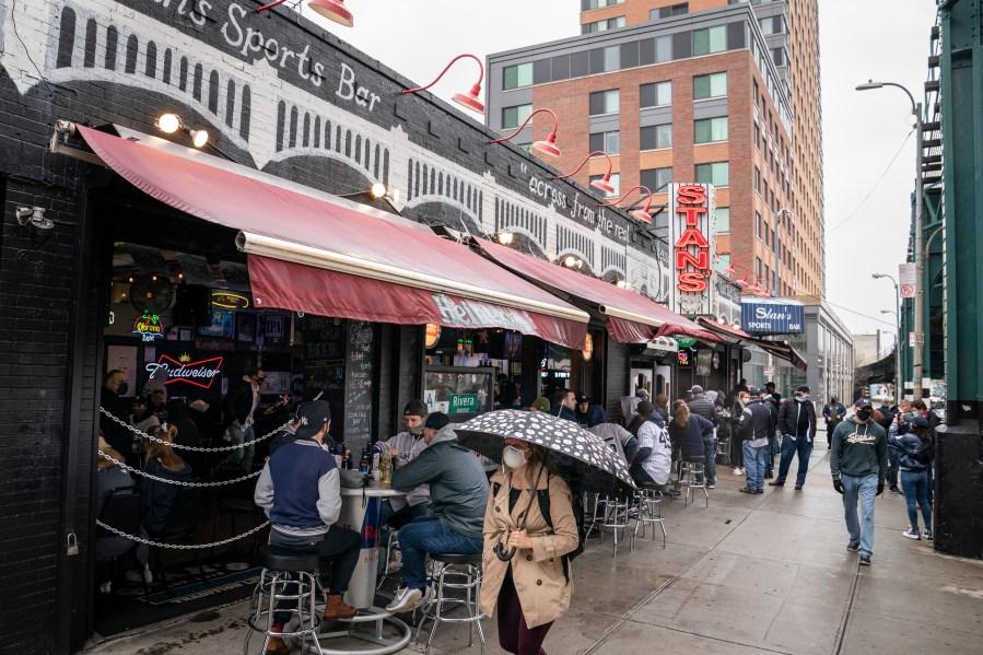 Outside Stan's Sports Bar near Yankee Stadium