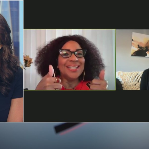 Marysol Castro talks with fellow female PA announcers in the MLB, Renel Brooks-Moon and Amelia Schimmel, on the PIX11 Morning News.