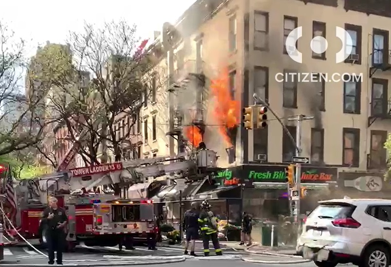 Upper East Side building engulfed in flames