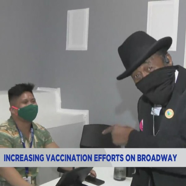 Ben Vereen stops by the Times Square vaccine site for entertainment workers