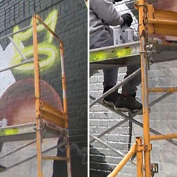 Artist Andaluz paints a DMX mural outside a Bronx restaurant