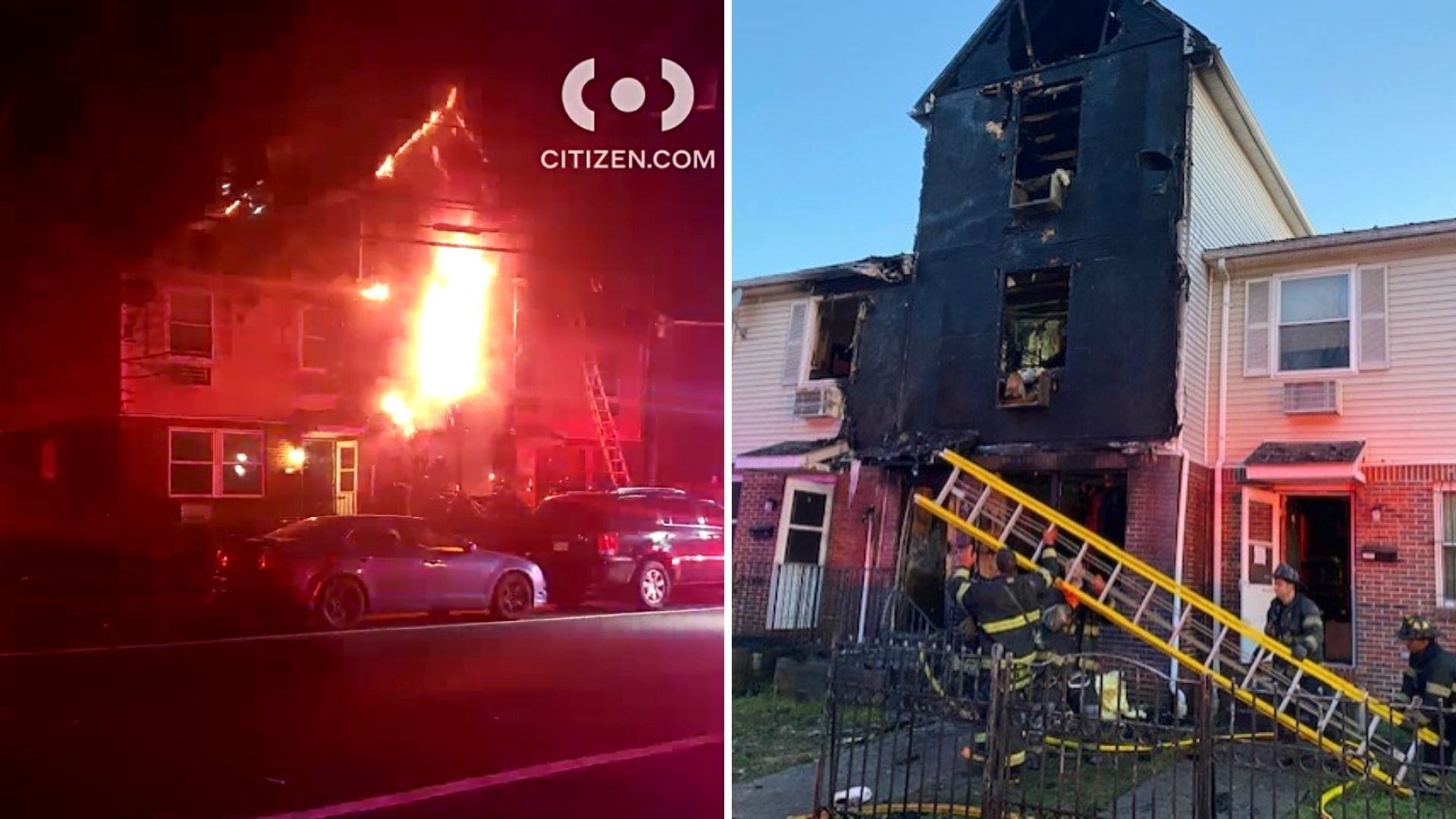 A large fire in a townhouse on Astor Street in Newark, New Jersey that left a 7-year-old boy dead on Thursday, April 8, 2021; Aftermath of the deadly fire. (Citizen App/Essex County Prosecutor's Office)
