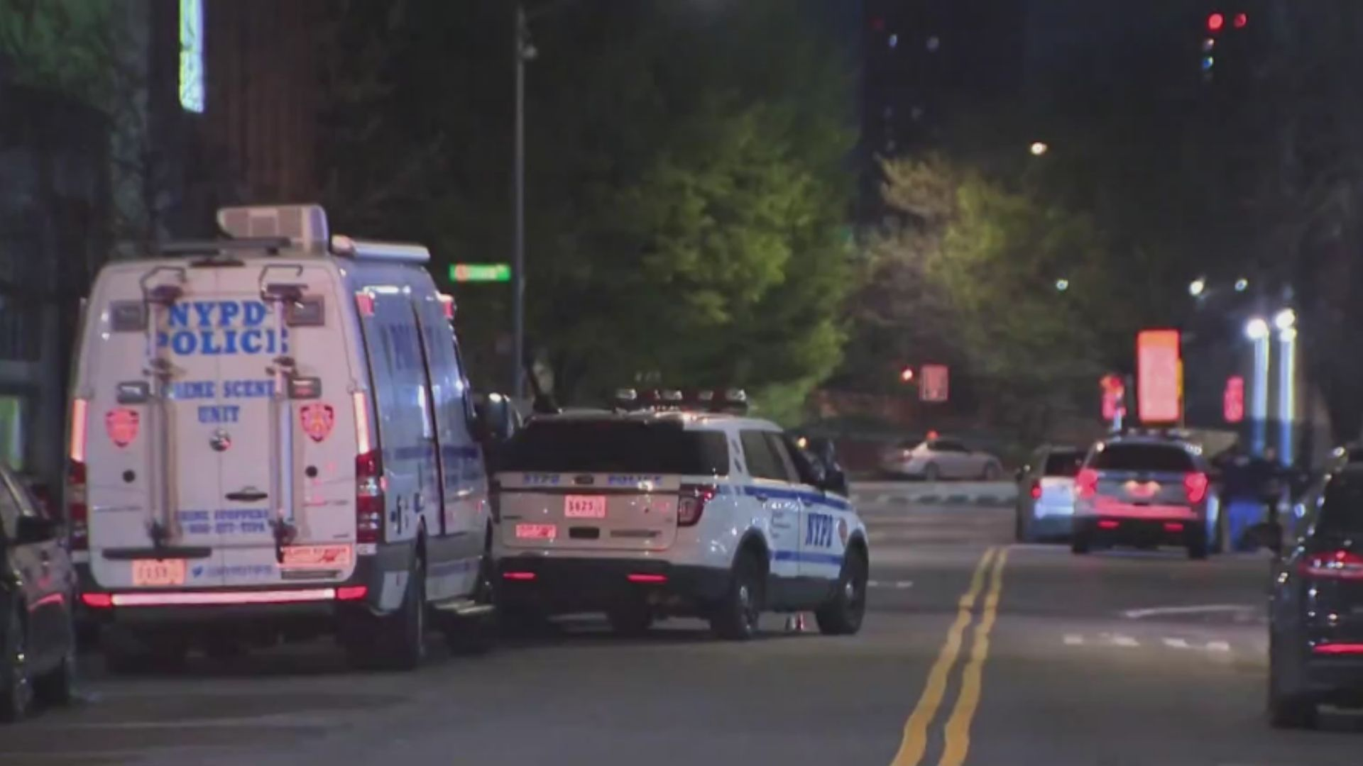 Police on the scene after a shootout between officers and multiple suspects late Monday night, April 19, 2021, according to the NYPD. (PIX11 News)