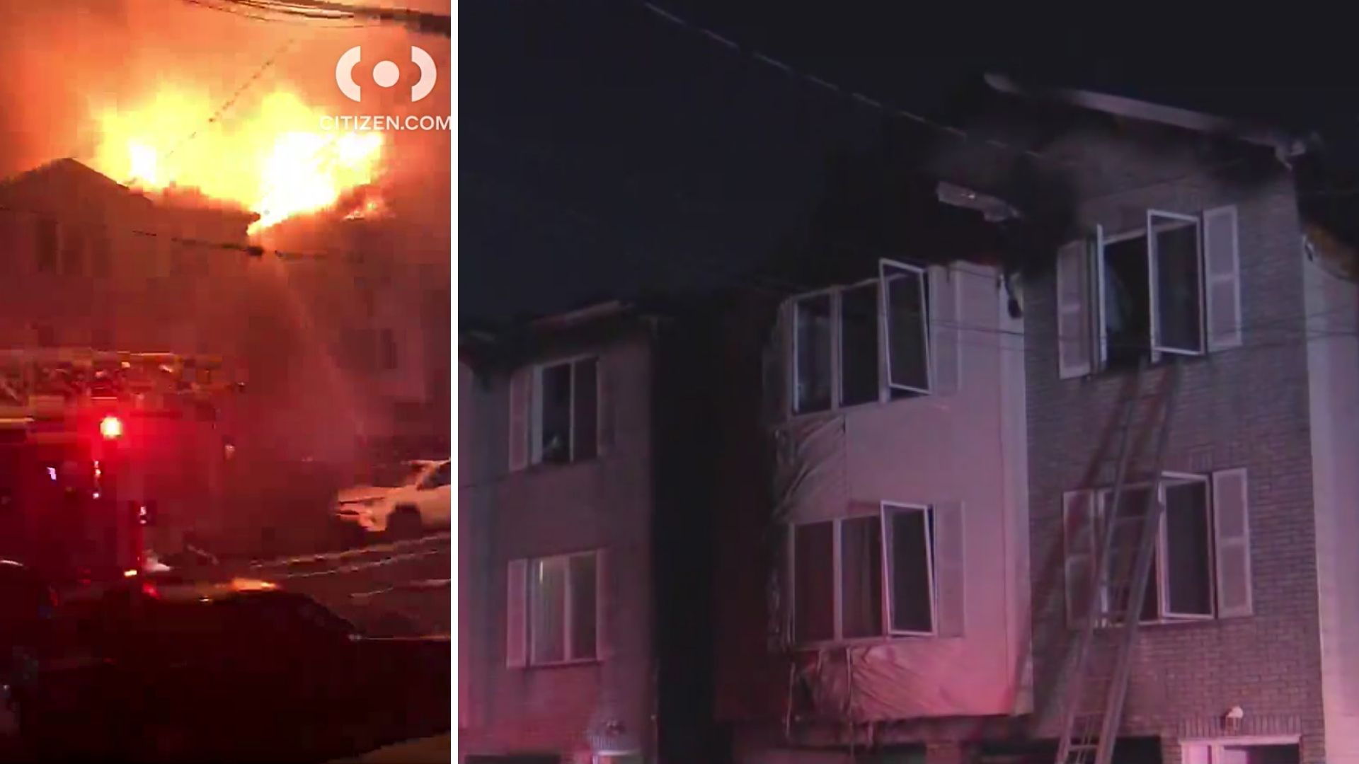 Flames seen burning through several homes on a Jersey City street early Monday, April 5, 2021; damage to the row of homes seen hours later. (Citizen App/PIX11 news)
