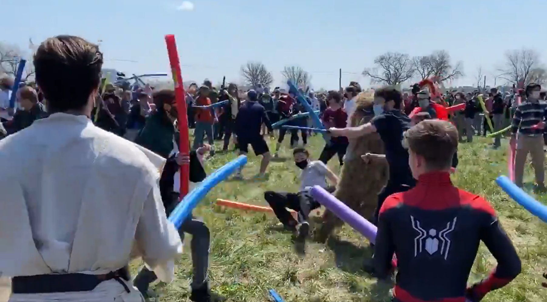 People named josh fight with pool noodles in Nebraska
