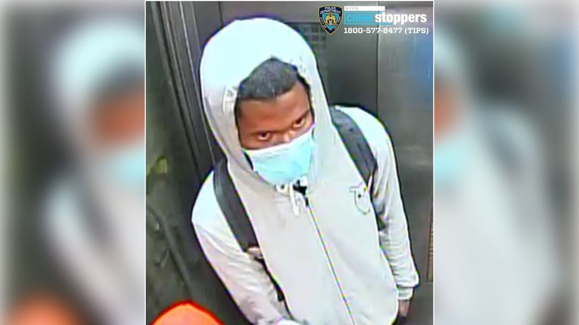 Surveillance image of a male suspect accused of grabbing a 19-year-old woman inappropriately in an elevator at the 125th Street subway station in Harlem, Manhattan on April 12, 2021, according to police.