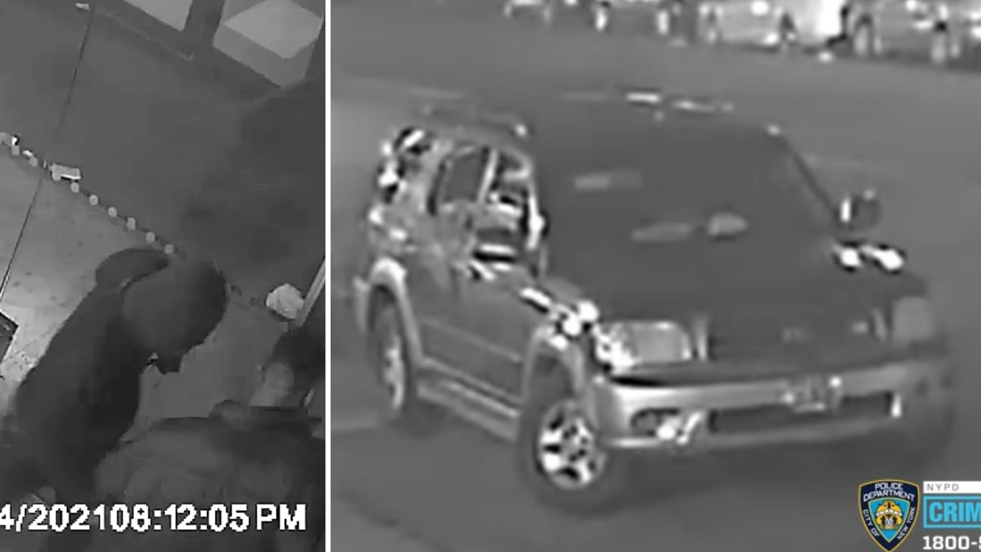 Surveillance image of two people wanted for attacking and robbing a man on a Bronx street on April 4, 2021, police say; Surveillance image of the black SUV the two attackers fled in, according to the NYPD. (NYPD)
