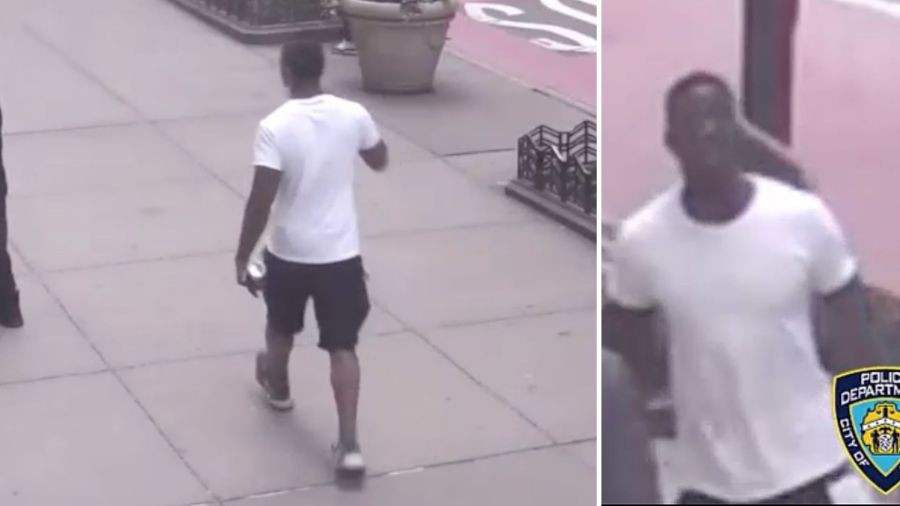 Stills from surveillance video of a man wanted by police for punching another man and allegedly making anti-gay statements in a Manhattan CVS on April 24, 2021