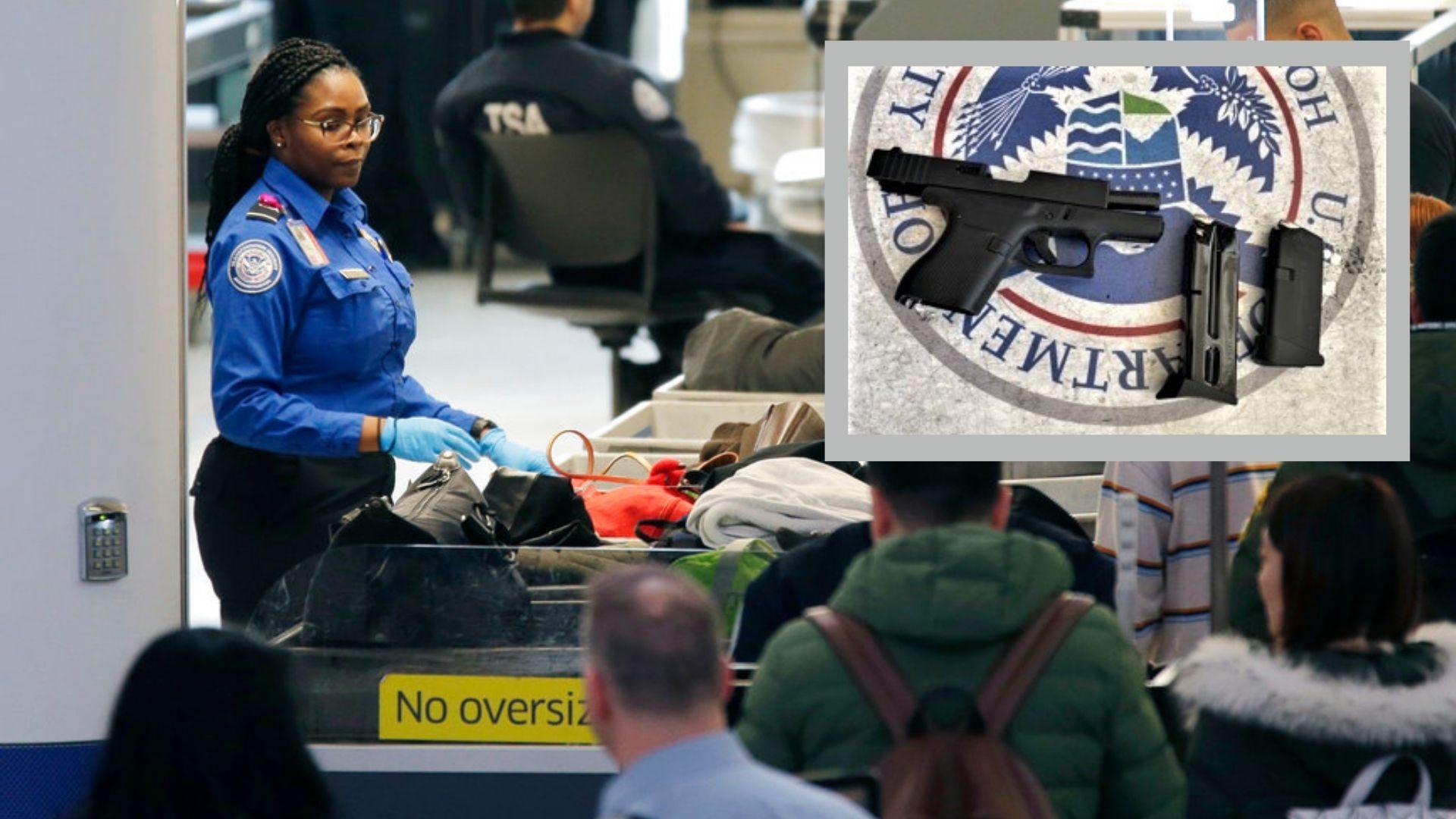 A TSA checkpoint in Newark Airport and a handgun confiscated by TSA officers