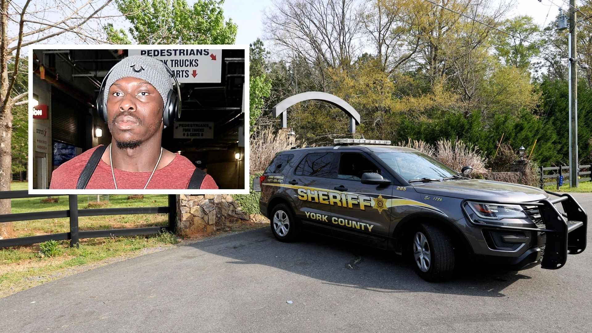 A York County sheriff's deputy parked outside a residence where five people were fatally shot on Thursday, April 8, 2021, in Rock Hill, South Carolina; Inset: Former NFL player Phillip Adams, the accused gunman who then turned the gun on himself, AP reports. (Nell Redmond/Mark Zaleski/AP Photo)