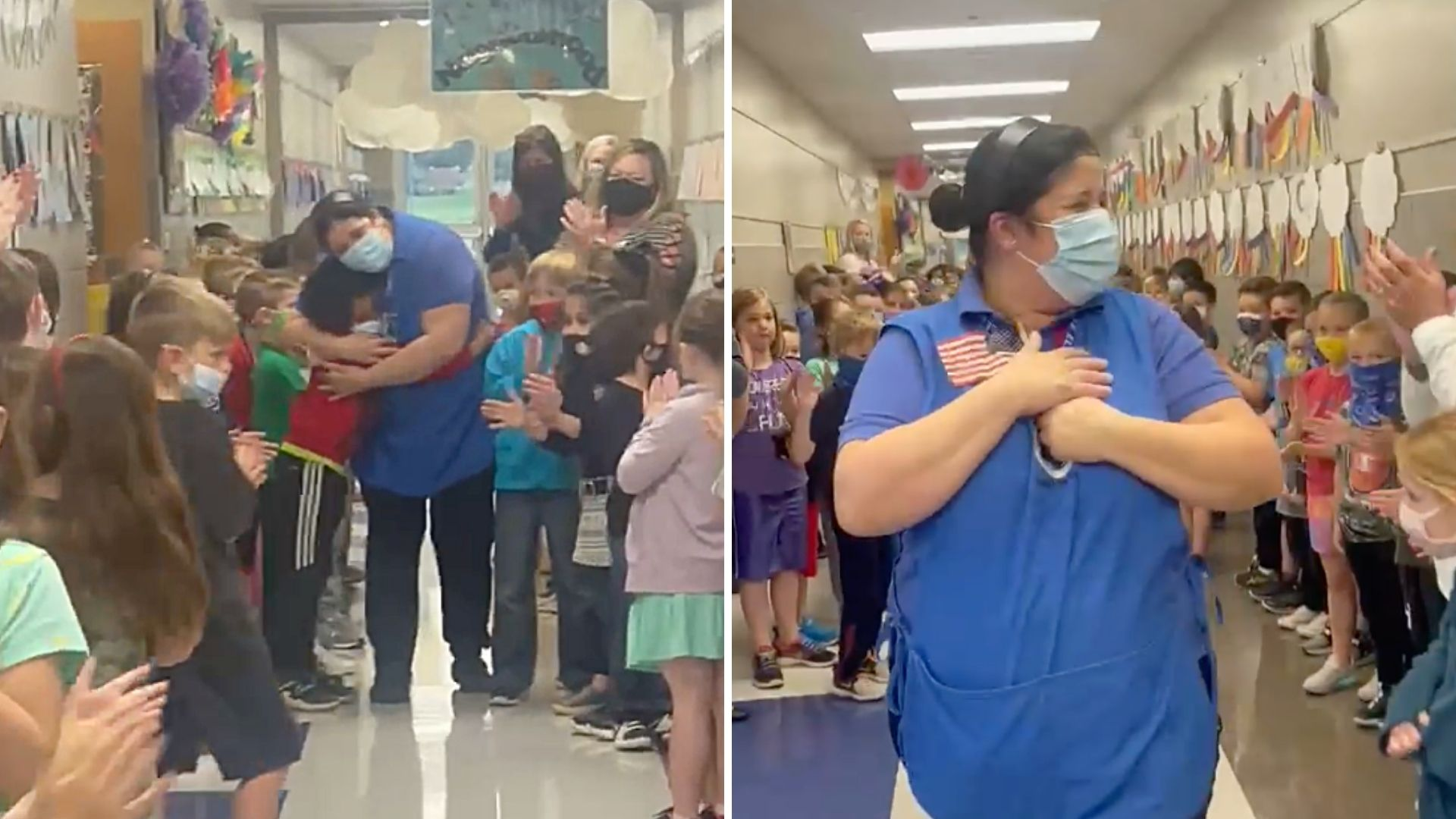 Students and teachers at Prairie Vale Elementary in Edmond, Oklahoma cheer for cafeteria manager Yanet Lopez after she passed her test to become a United States citizen. (Prairie Vale Elementary on Facebook via Storyful)