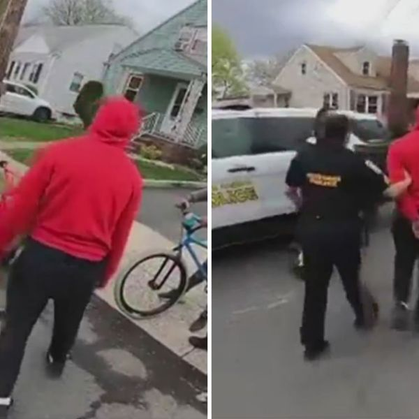 Screenshots from a viral video of police in Perth Amboy, New Jersey confiscating a bicycle from a Black young person before putting the boy in handcuffs.