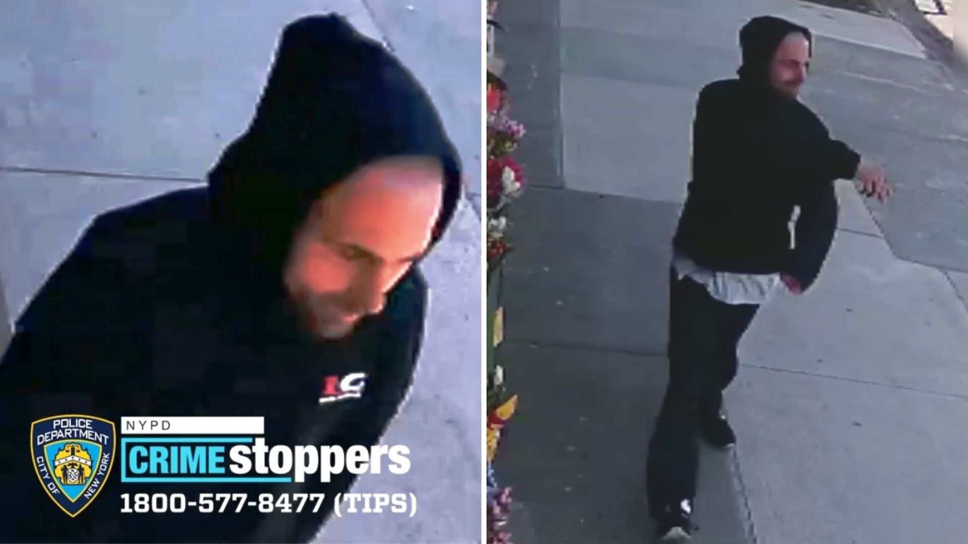 Surveillance images of a man accused of shoving an Asian man, 77, to the ground in Brooklyn on April 5, 2021, according to police. (NYPD)
