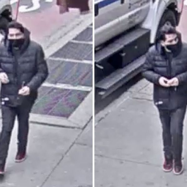 Surveillance images of a man police are looking for in connection with a stabbing aboard an E train in Jackson Heights, Queens on Aril 2, 2021, according to police.
