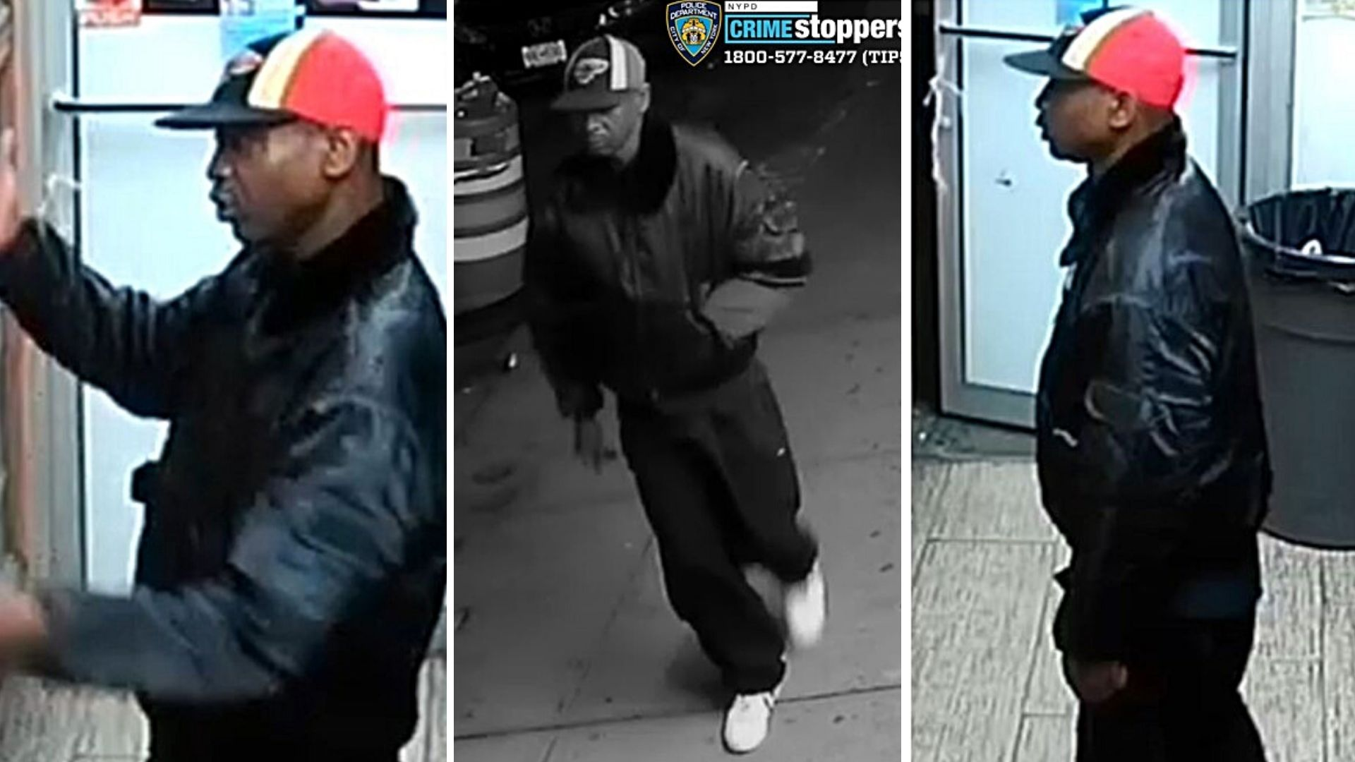 Surveillance images of an unidentified man police are looking for after a 61-year-old Asian man was attacked in the East Harlem area of Manhattan on Friday, April 23, 2021.