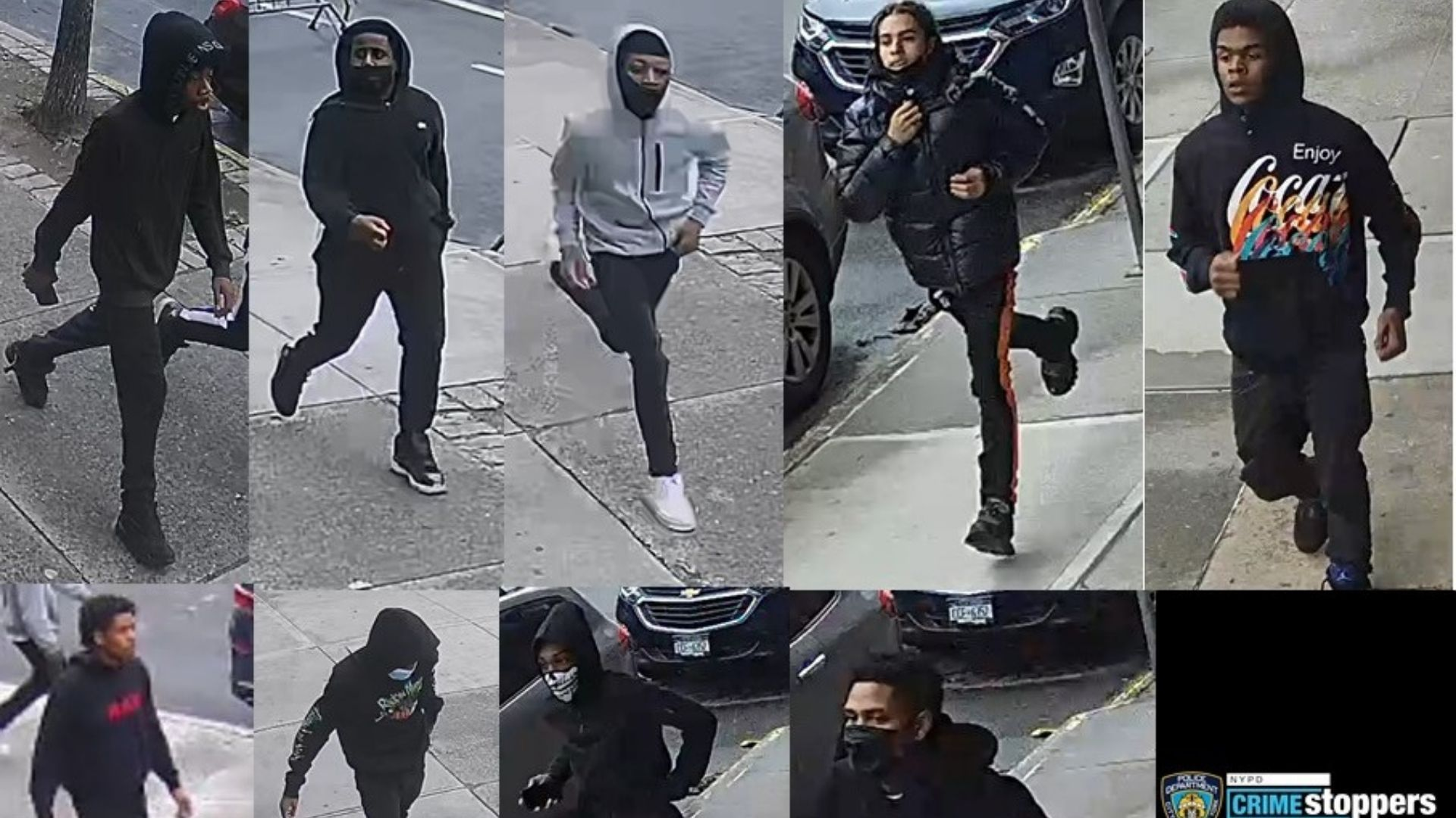 Surveillance images of nine of ten individuals being sought by police after a group shot and robbed a 14-year-old boy in an attack in the Bronx on April 16, 2021, police said.
