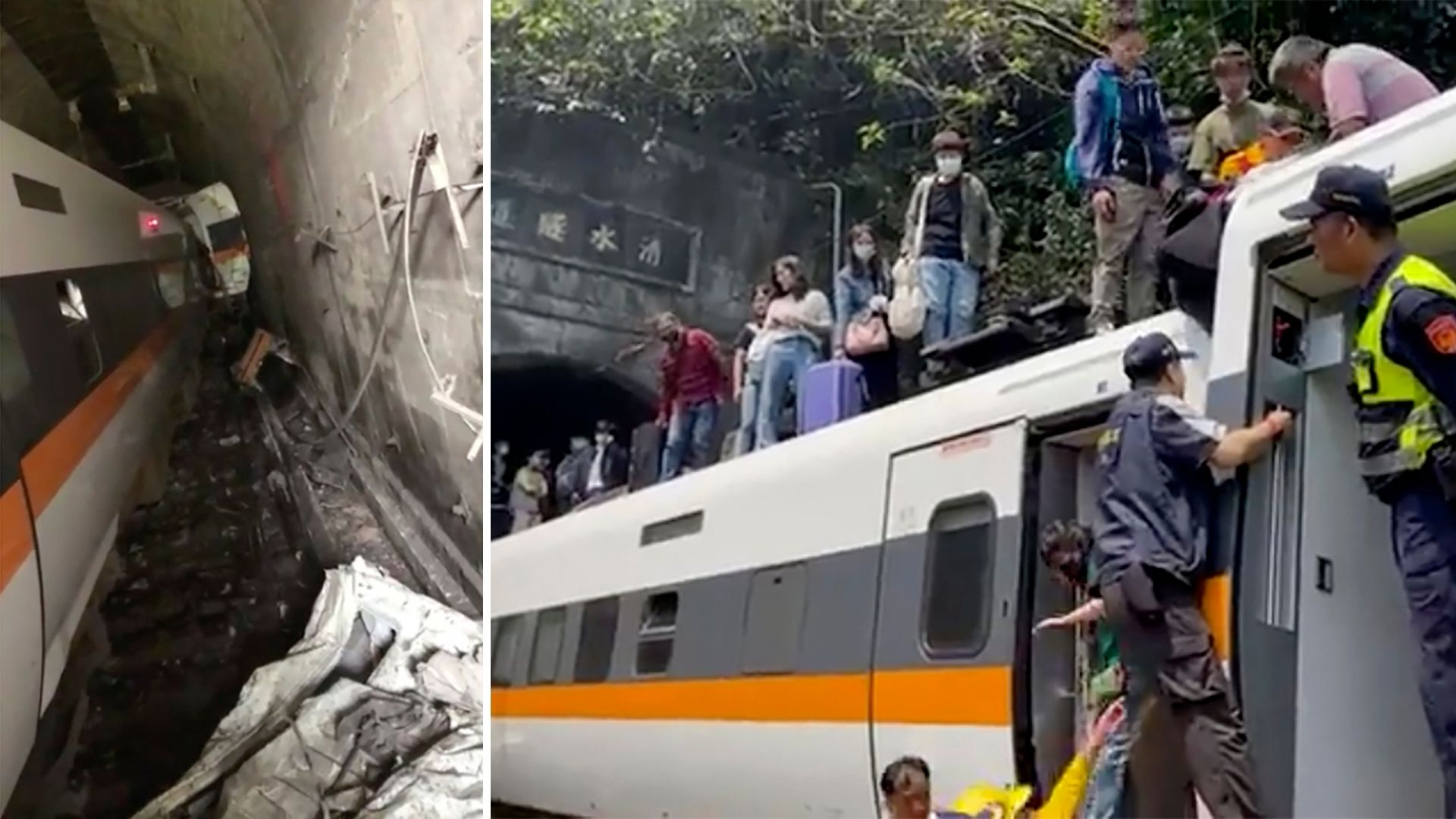 In this image made from a video released by Ministry of Interior, National Fire Department, a train is stranded in a tunnel in Hualien County in eastern Taiwan Friday, April 2, 2021. The train partially derailed along Taiwan's east coast Friday; In an image made from a video released by hsnews.com.tw, passengers are helped to climb out of the derailed train. (Ministry of Interior, National Fire Department / hsnews.com.tw via AP)