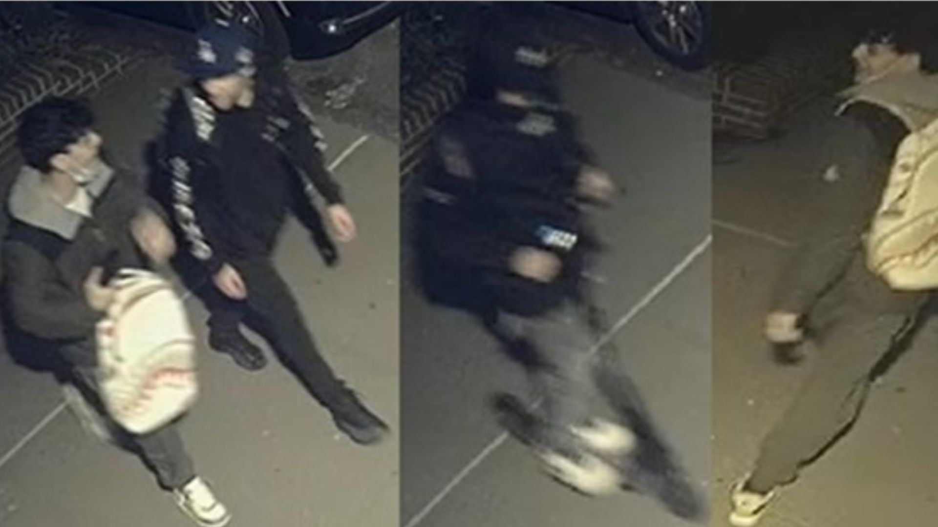 Surveillance image of three male individuals wanted in connection with a string of robberies on Manhattan's Upper West Side throughout March 2021, according to police. (NYPD)