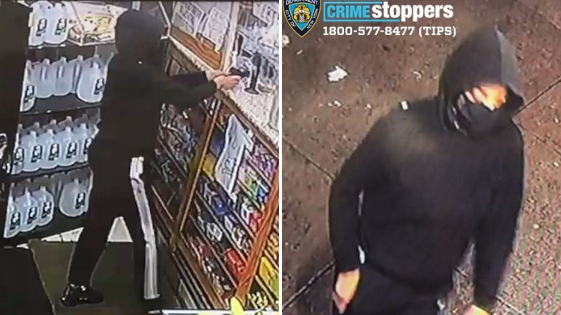 Surveillance images of a woman who walked into a Bronx bodega and opened fire on Thursday, April 1, 2021, according to police. (NYPD)