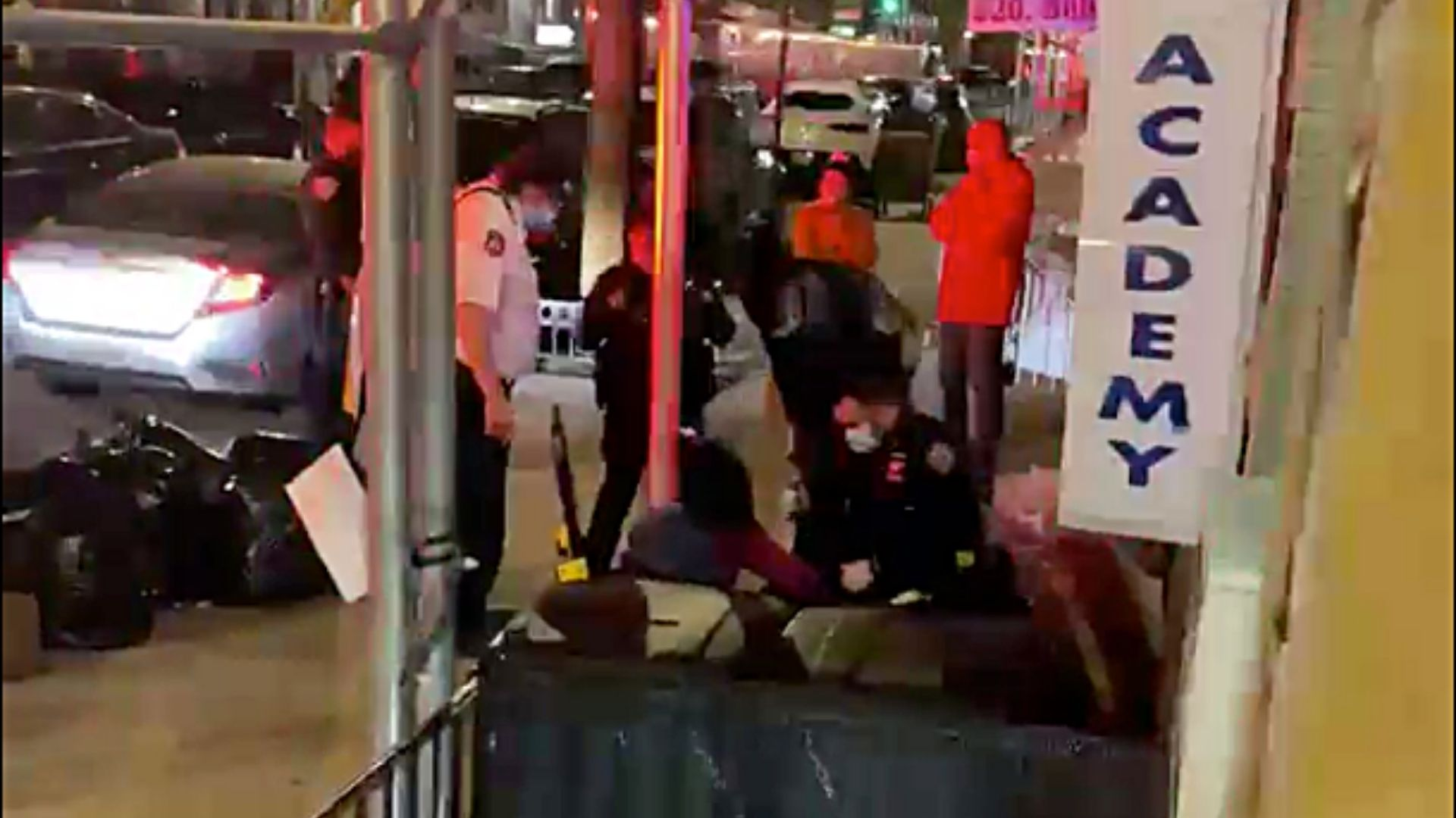 Police on the scene after a woman, 28, was attacked with a hatchet by another woman, 22, who was taken into police custody late Monday night, April 19, 2021 on Manhattan's Upper East Side, according to police.