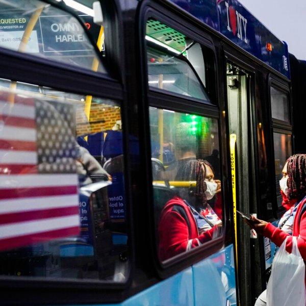 Passenger gets on MTA bus