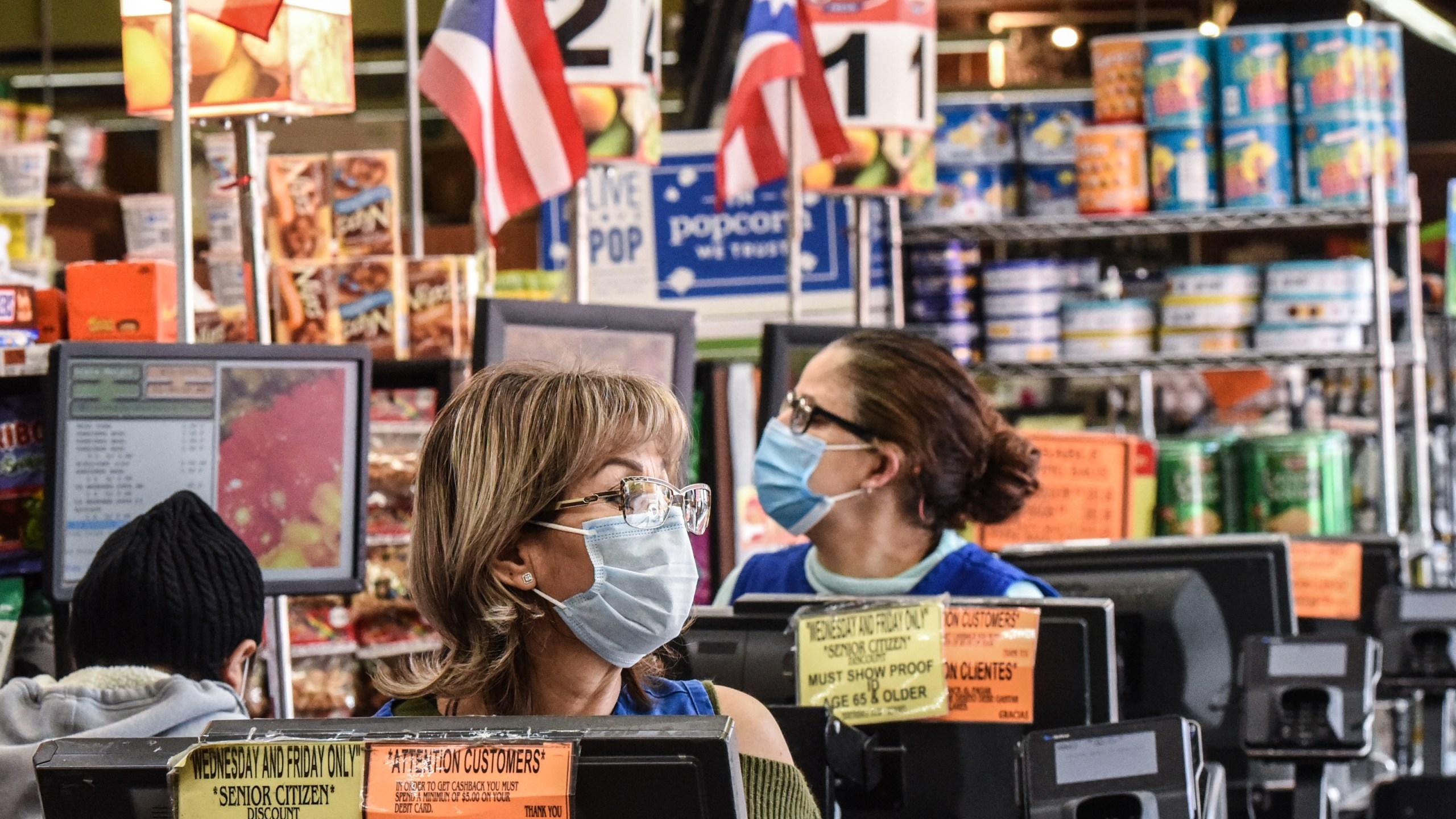 brooklyn grocery store workers wearing masks