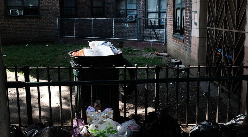 garbage outside Brooklyn housing development