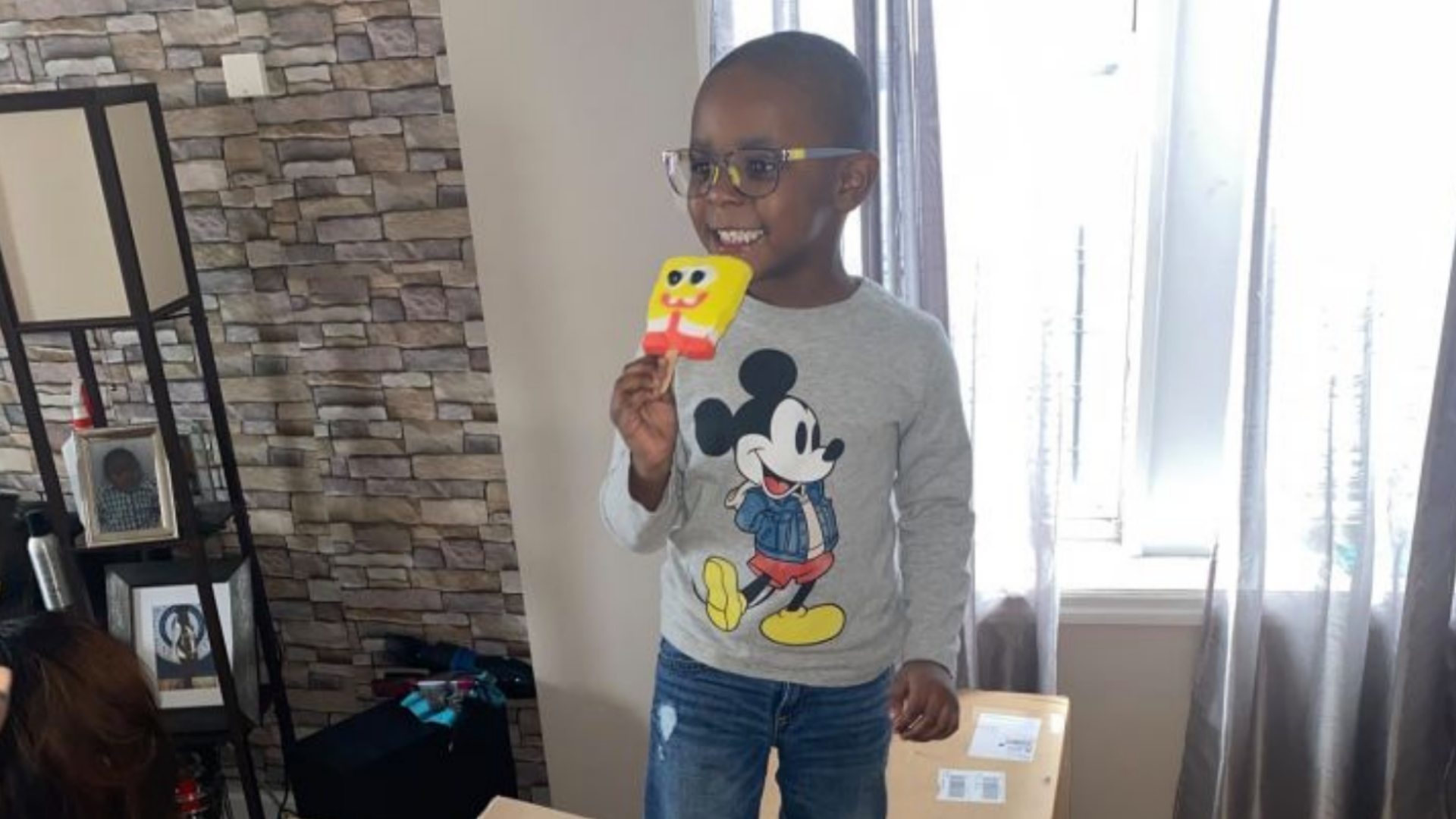 Noah from Brooklyn with a SpongeBob popsicle