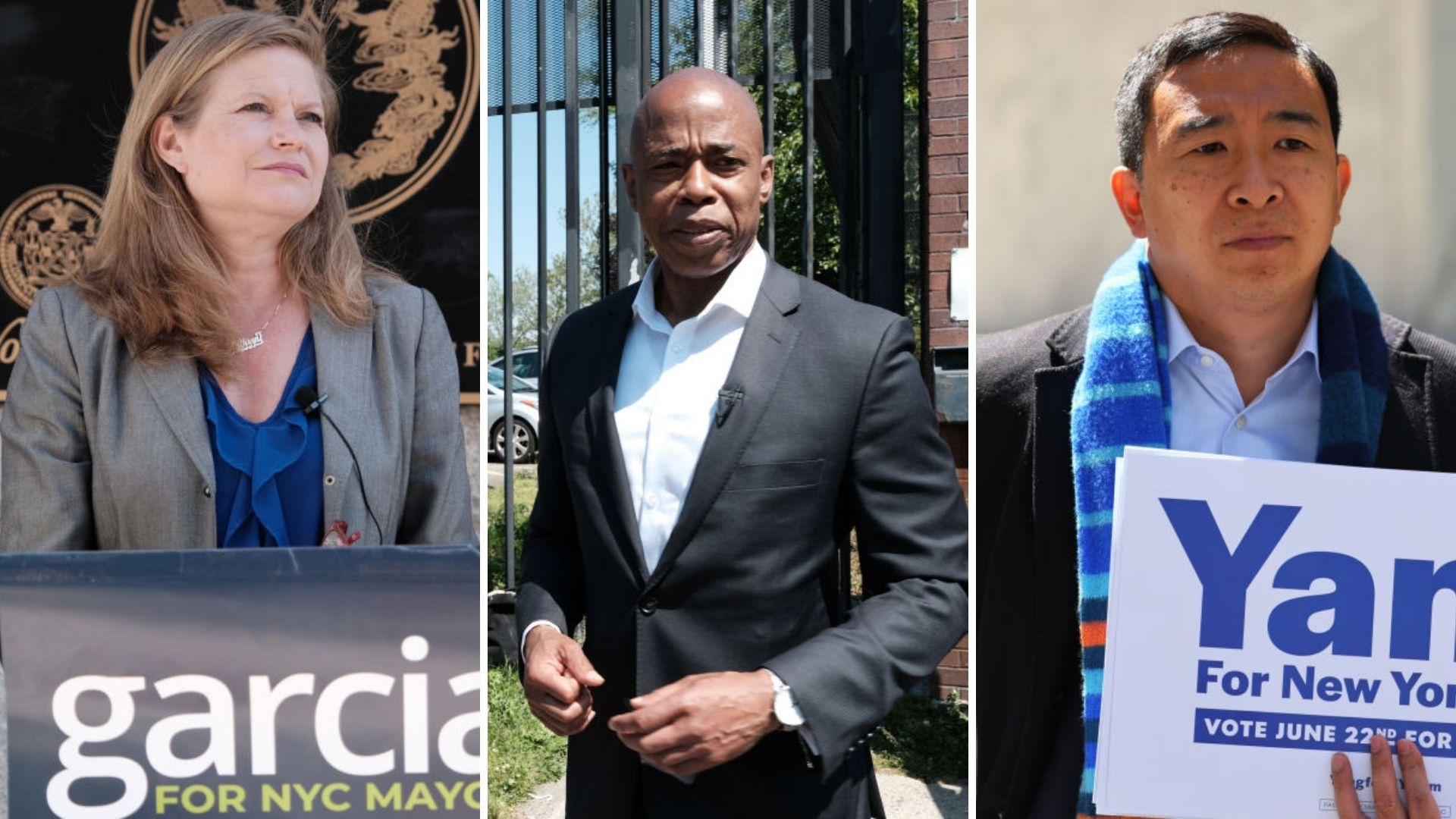 New York City mayoral candidates Kathryn Garcia, Eric Adams, and Andrew Yang