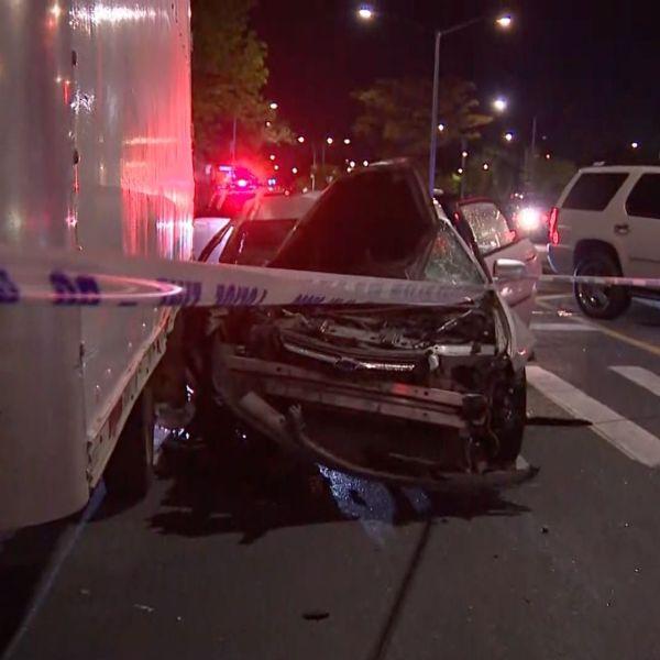 Crashed car after Brooklyn joyride