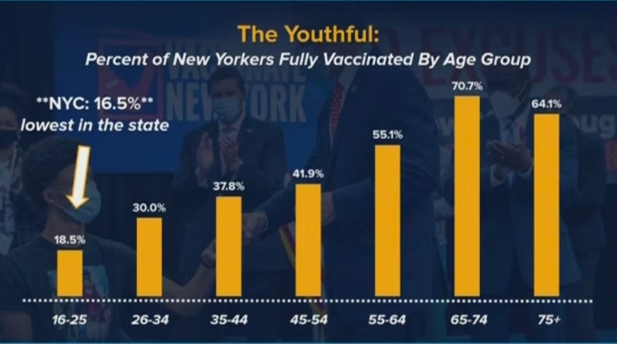 New Yorkers vaccinated by age range