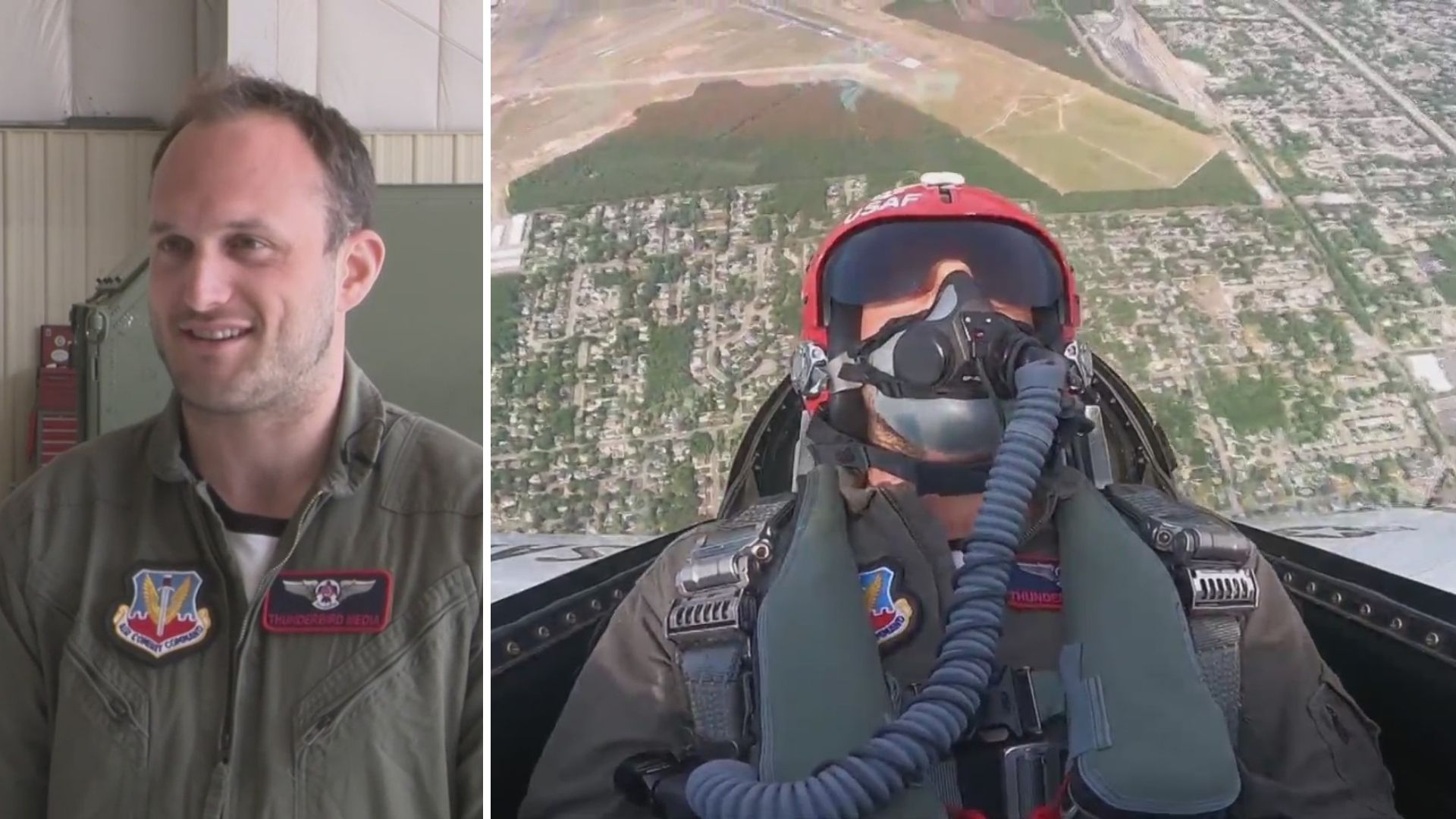 NY Rangers player Anthony Bitetto flies with the Thunderbirds