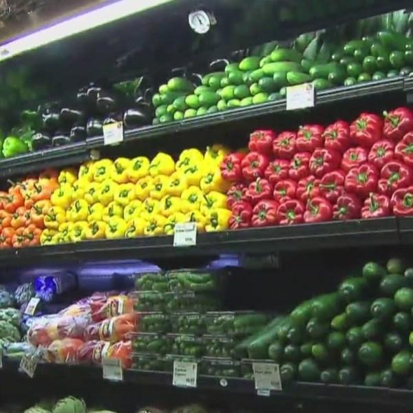 supermarket isle with fresh produce