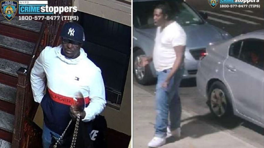 Surveillance images of a man police believe brutally attacked another man in Brownsville, Brooklyn on April 28, 2021.