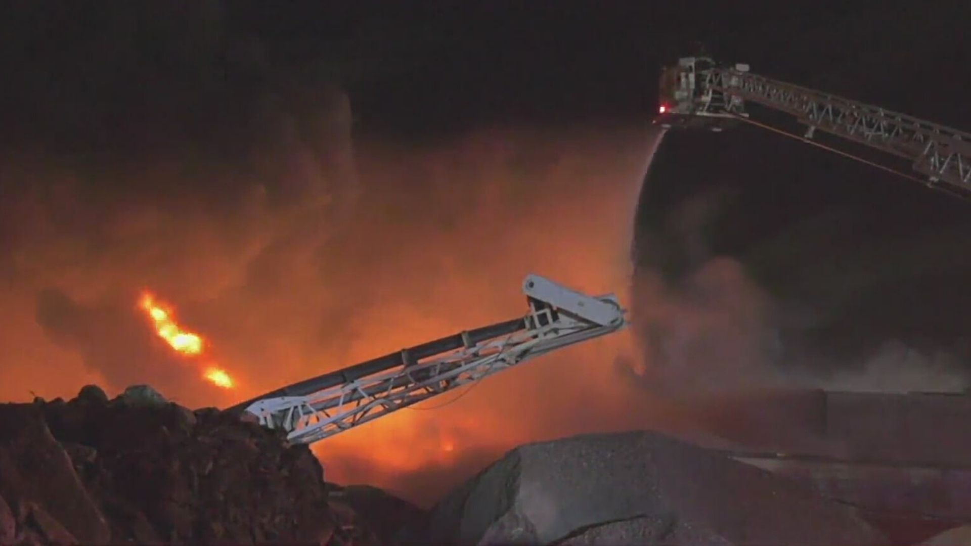 Large factory fire in Westbury, Long Island