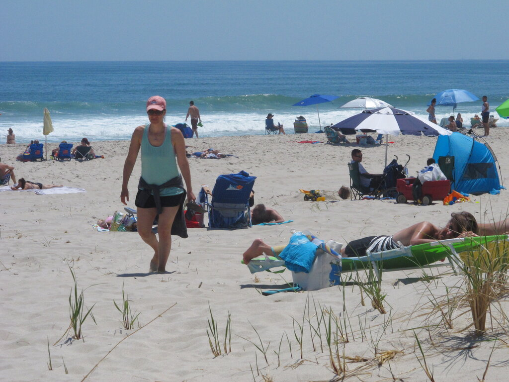 Beachgoers at Island Beach State Park in New Jersey