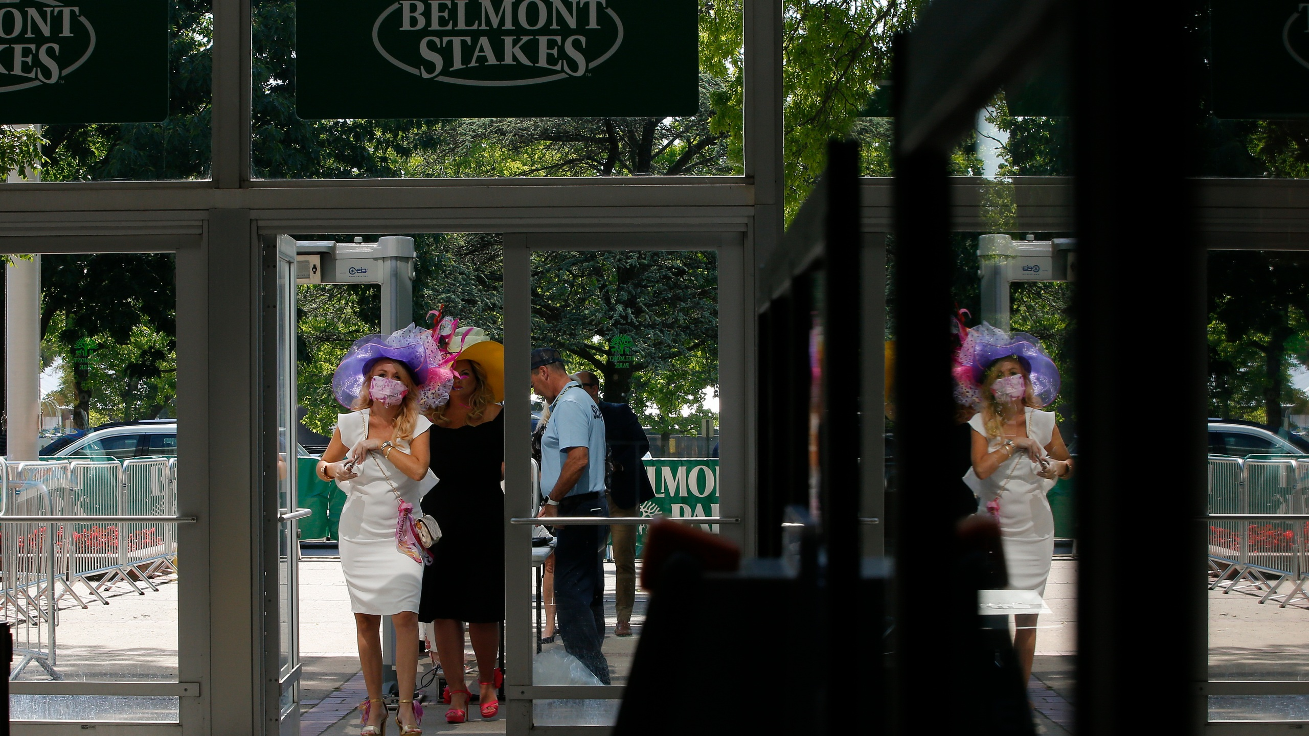 fans arrive at belmont stakes horse race on long island