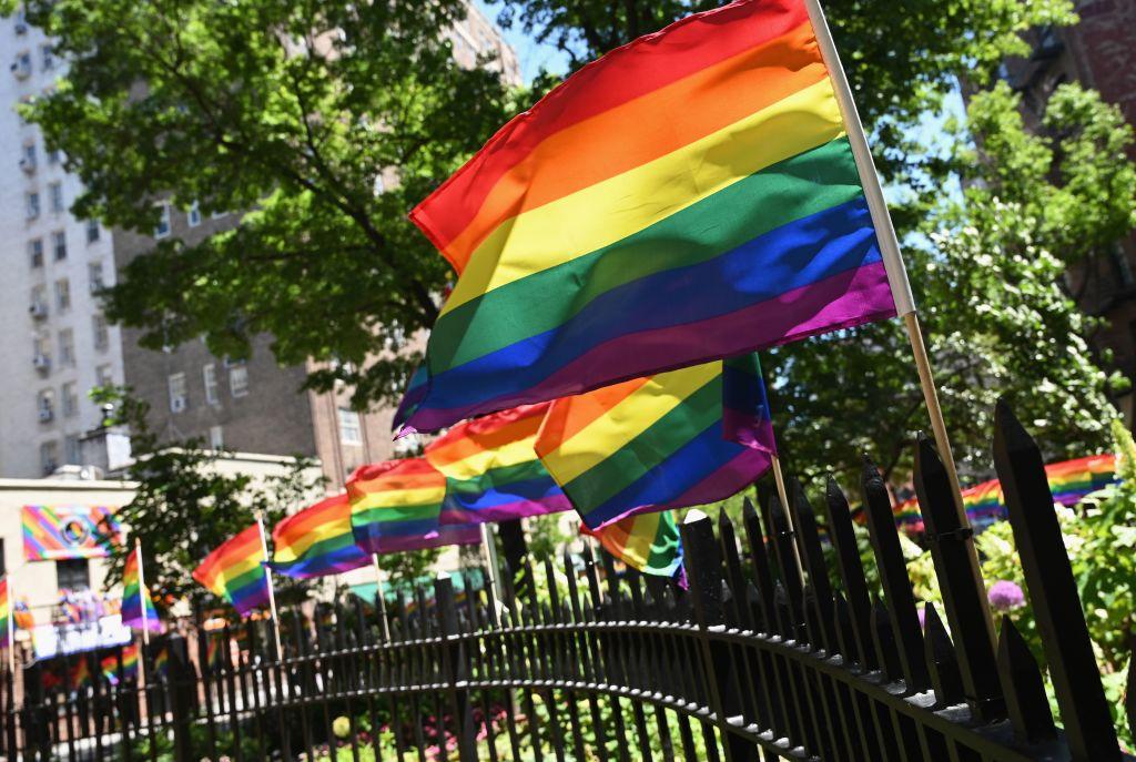 Pride flags line Christopher Park in West Village