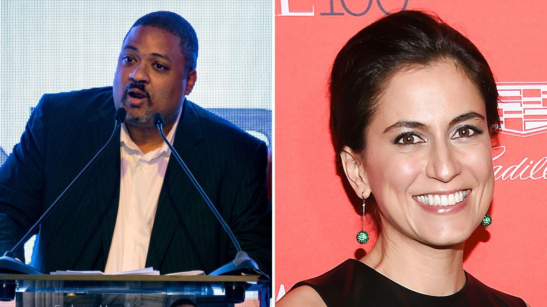 Democratic candidates for Manhattan DA Alvin Bragg and Tali Farhadian Weinstein