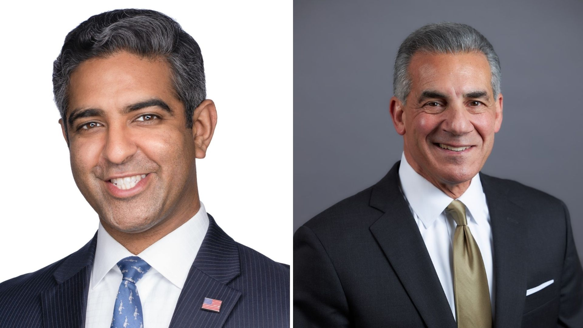 NJ candidates for governor Hirsh Singh, left, and Jack Ciattarelli