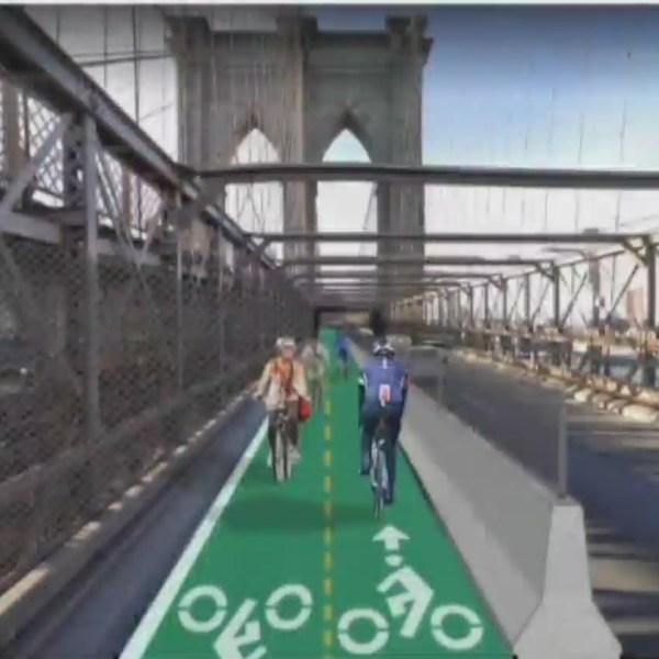 Artist rendering of a planned two-way protected bike lane on the Brooklyn Bridge