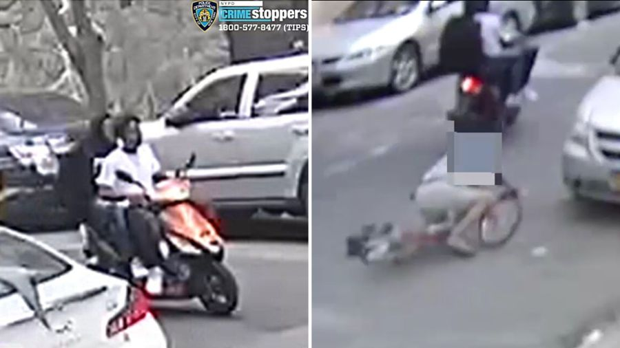 Cyclist struck to ground by pair on scooter in Washington Heights