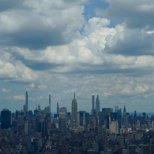 New York City Skyline partly cloudy weather