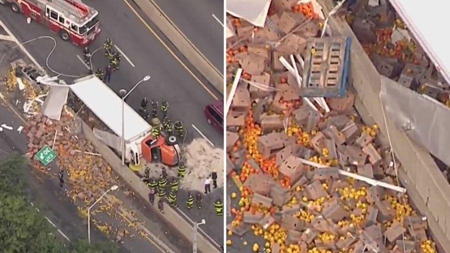 Overturned truck on BQE in Broklyn