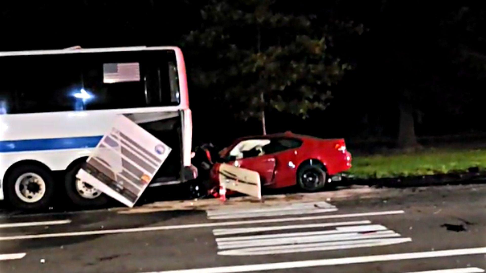 Car slams into MTA bus in Staten Island
