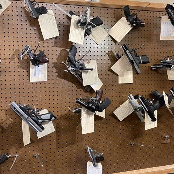 Guns are seen in an ATF evidence vault