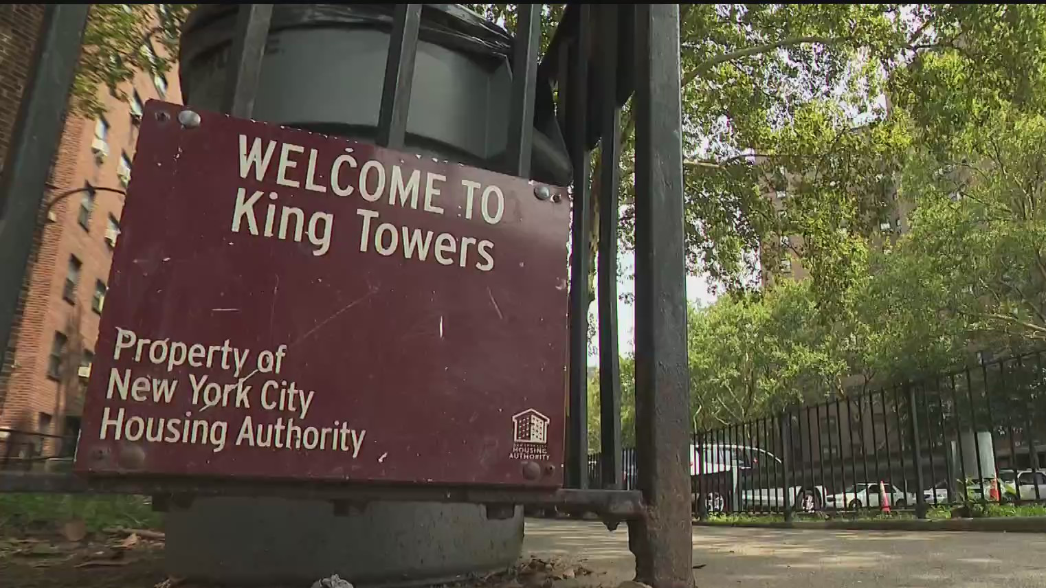 Sign outside King Towers