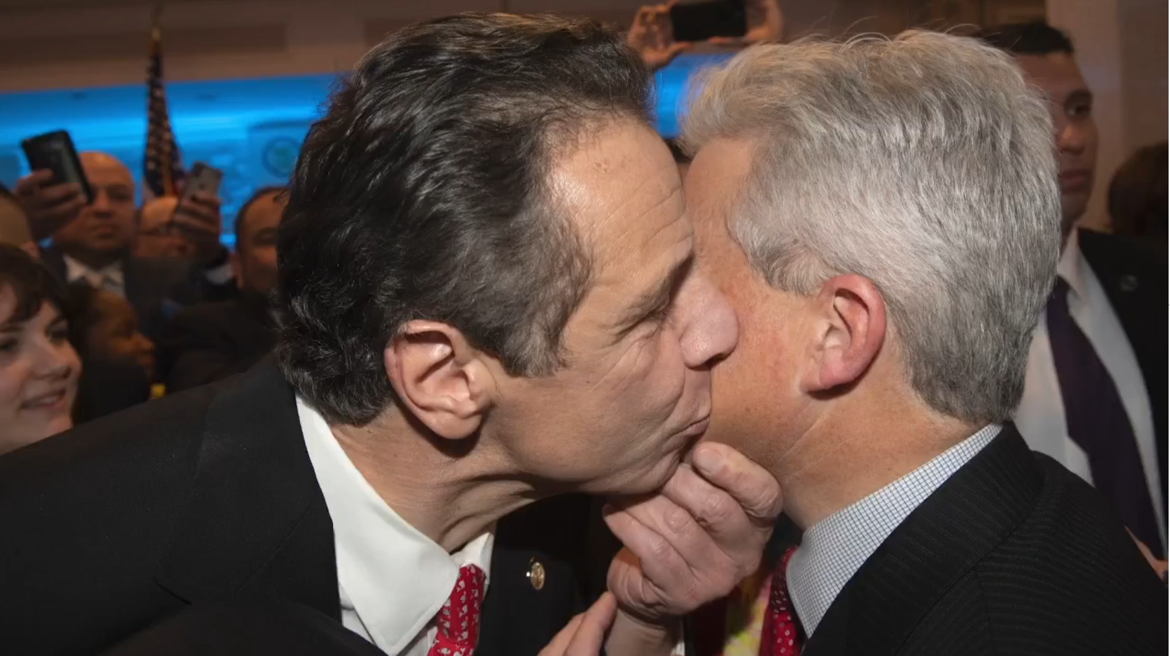 Andrew Cuomo kisses man on the cheek