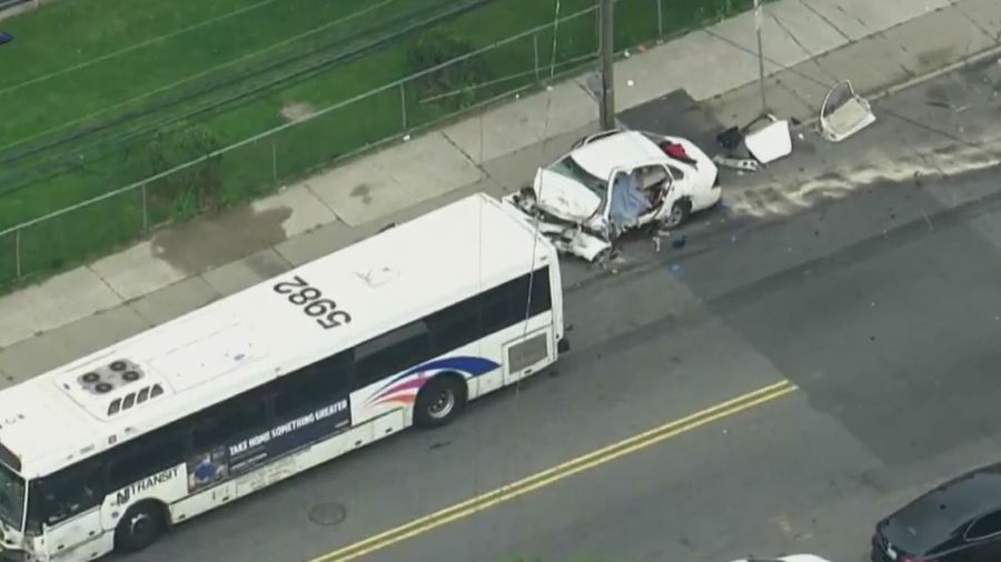 Car and NJ Transit bus collide in Newark