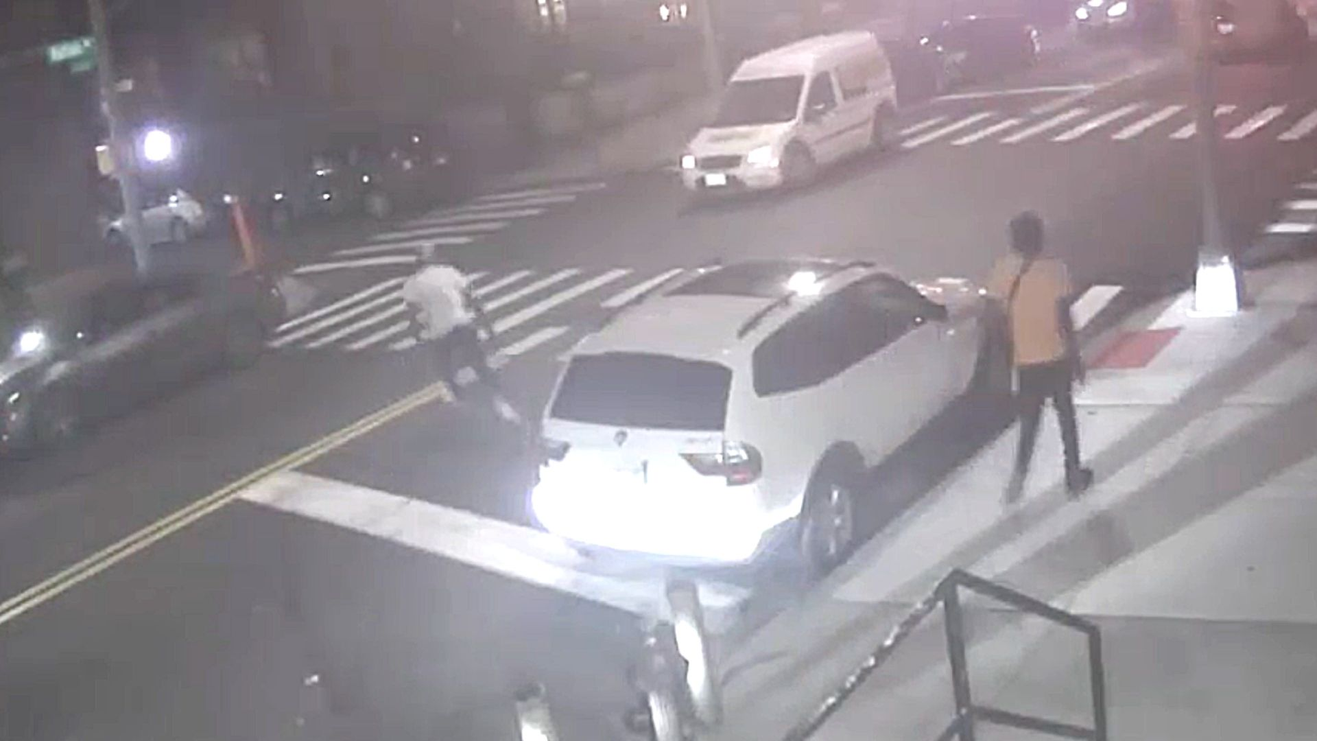 Surveillance image of a shootout in Crown Heights, Brooklyn